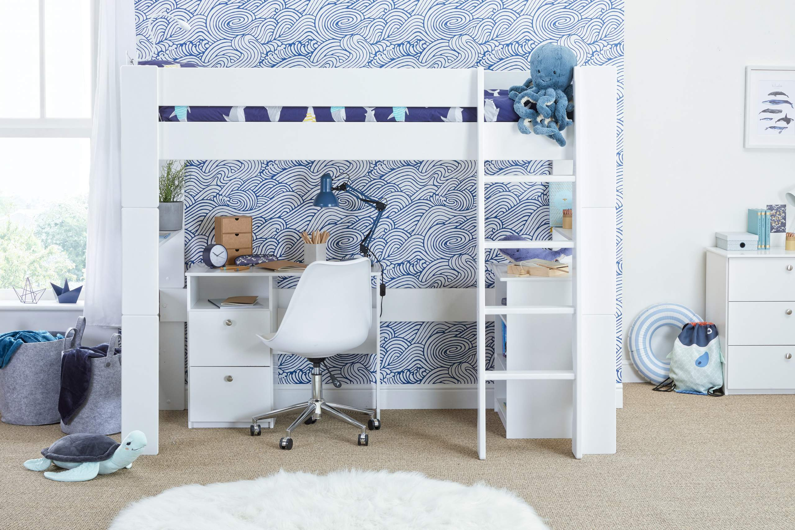 Bloc High sleeper with desk, chair, bookcase