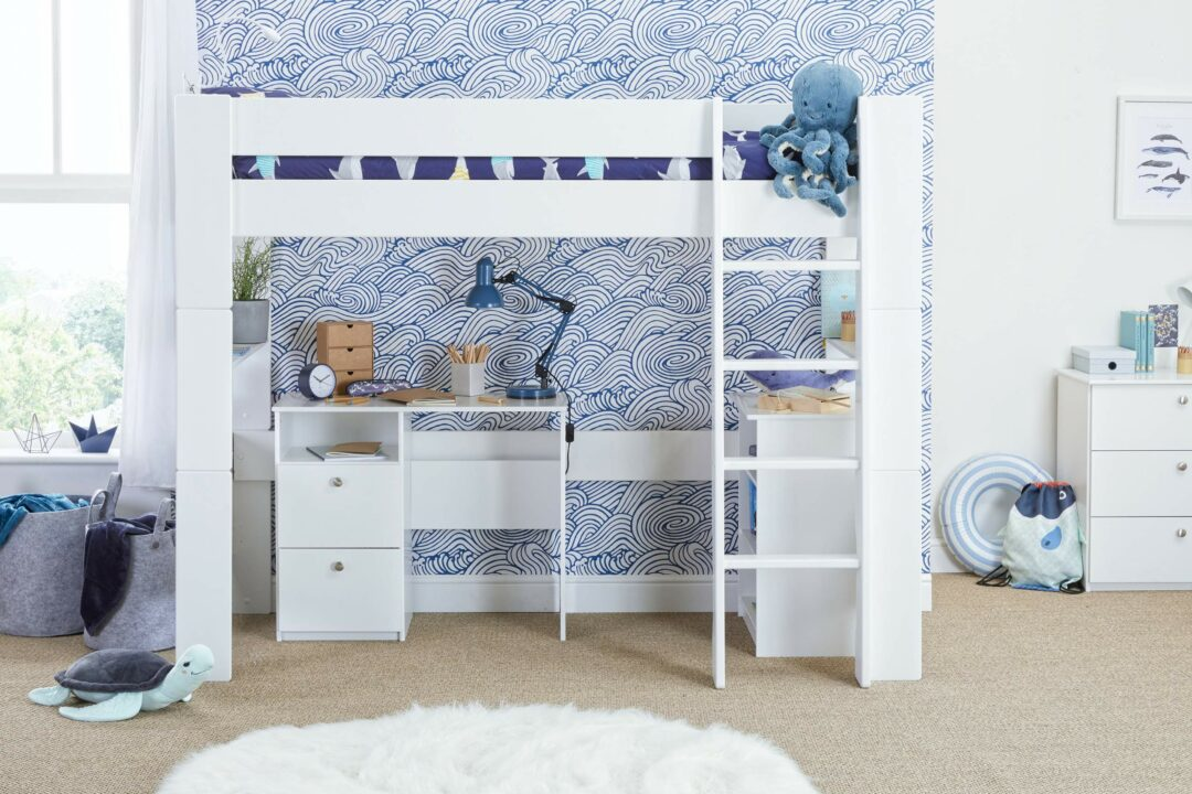 Bloc highsleeper with desk, bookcase - straight