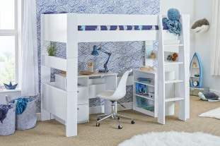 Bloc high sleeper with desk and bookcase