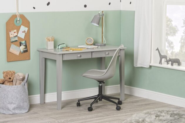 Gala desk grey - side with chair