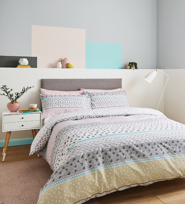 Banded Ditsy Heart Double Duvet Set