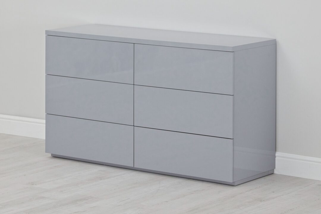 Grey gloss 6 drw chest - naked