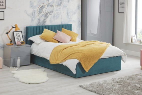 Luca bed teal - side