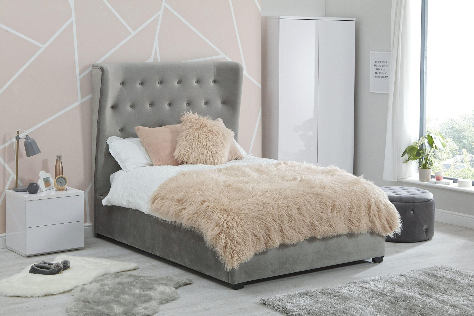Sienna velvet double bed - 1