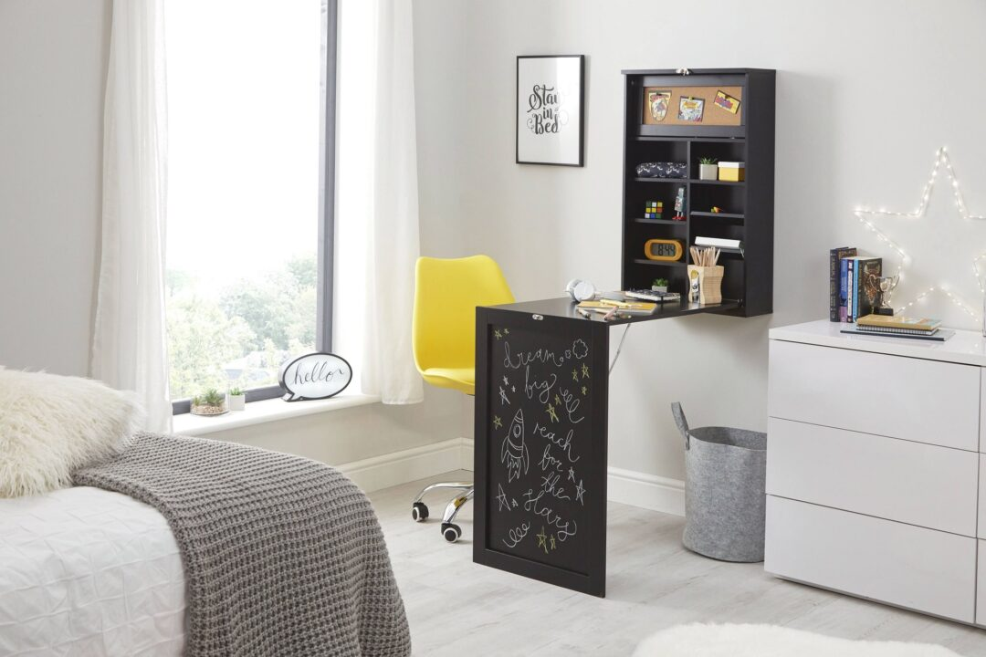 Wells Fold Away Desk - Black with yellow chair
