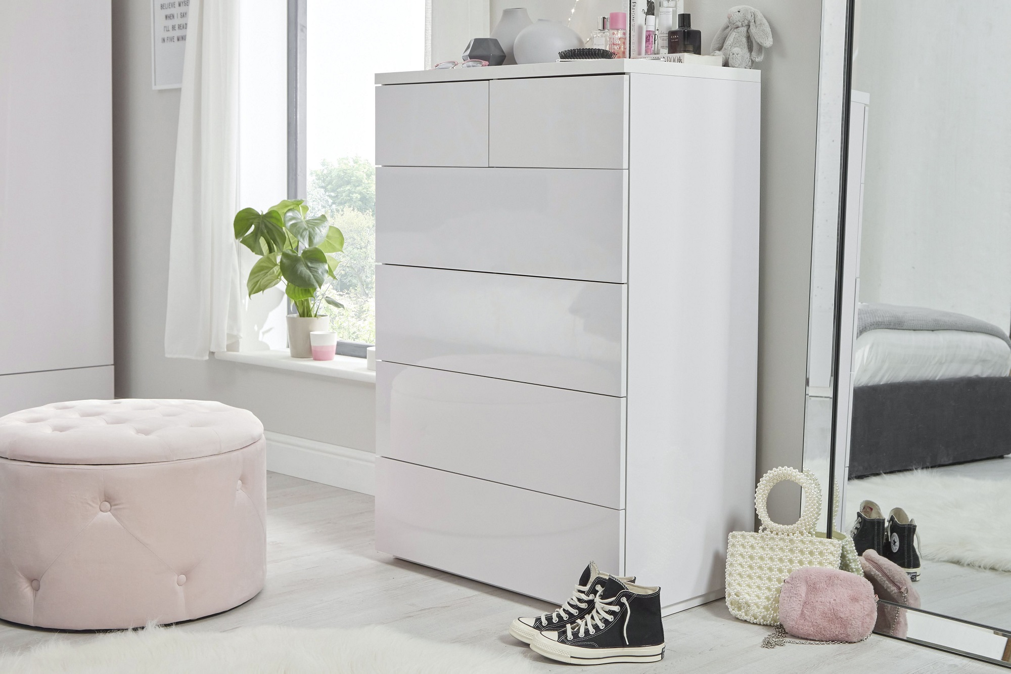 Roma Gloss Double Wardrobe White gloss 4+2 chest