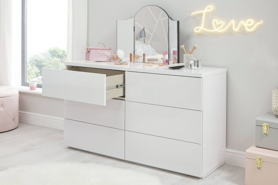 Roma White Gloss 6 Drawer Wide Chest - Open