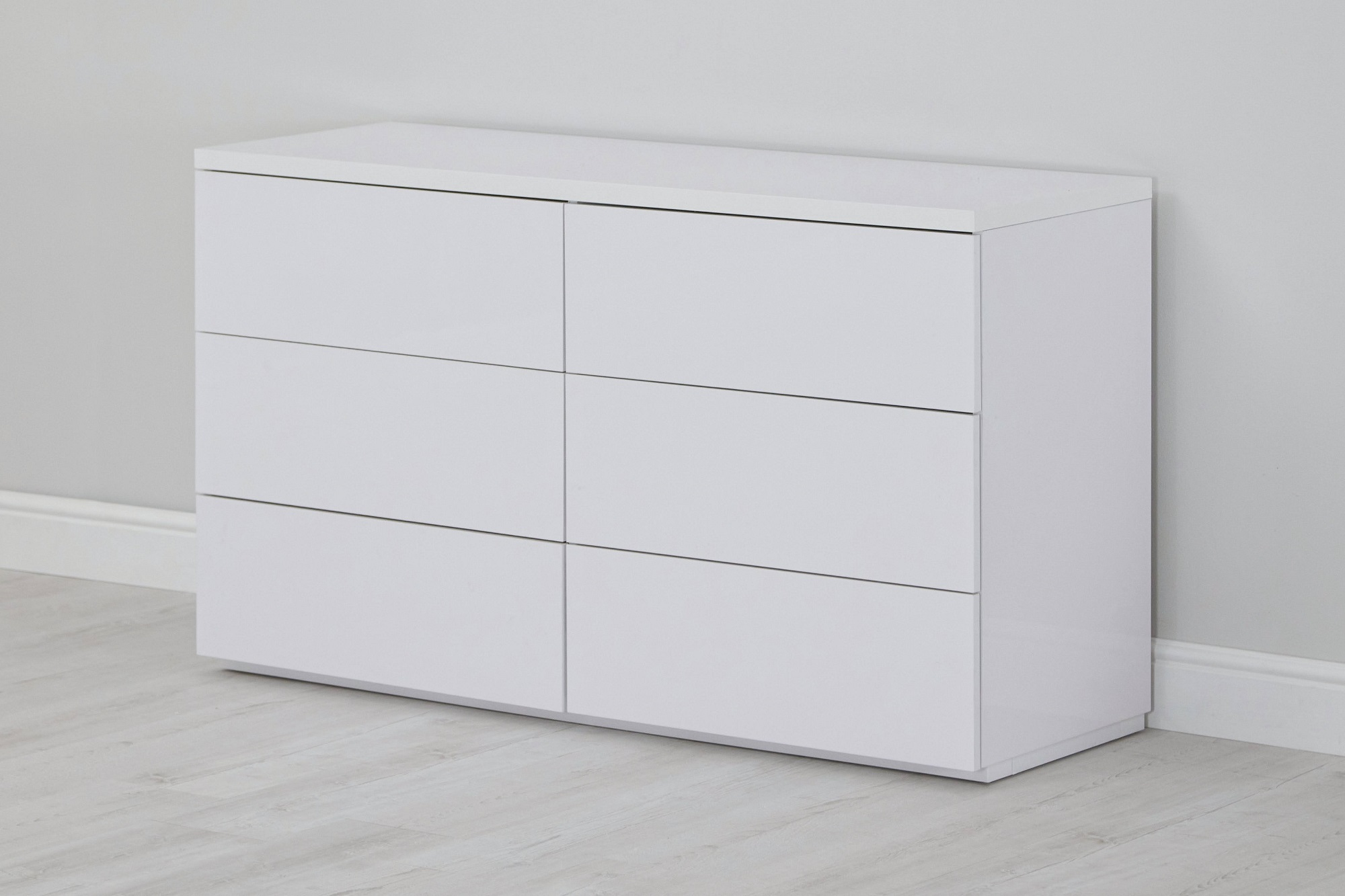 Roma Gloss 6 Drawer Wide Chest - White
