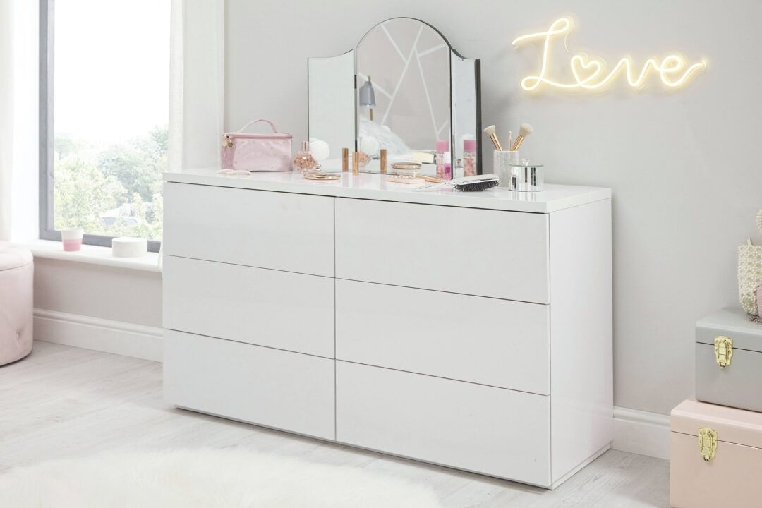 Roma White Gloss 6 Drawer Wide Chest